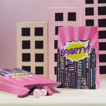 Pink Pop Art Superhero Party Bags - Pack of 8